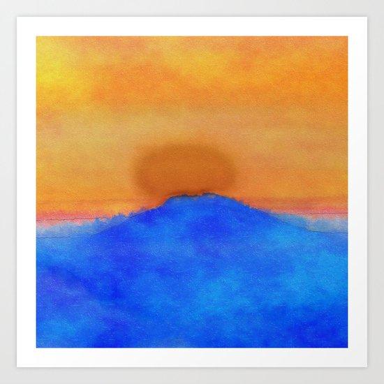 Blue landscape at sunset Art Print