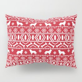 Bernese Mountain Dog fair isle christmas red and white pattern holiday dog breed gifts Pillow Sham