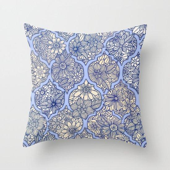 Moroccan Floral Lattice Arrangement - Purple Throw Pillow