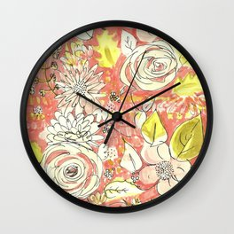 Pink Chintz Wall Clock