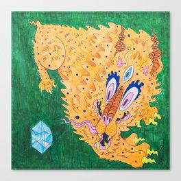二 Curiosity (Neon Horned Tiger finds a Blue Diamond in the Green Dimension) Canvas Print