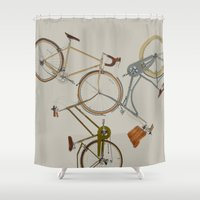 bicycles Shower Curtains featuring bicycles by Golden Boy