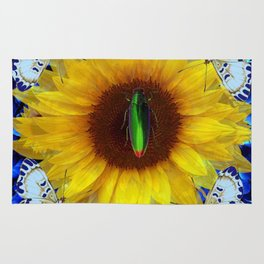 EMERALD GOLD BUG ON SUNFLOWER BUTTERFLY Rug