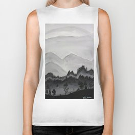 Black and White Mountains Biker Tank