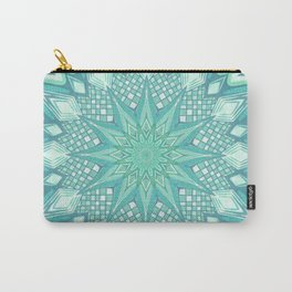 Burst Mandala Turquoise Carry-All Pouch