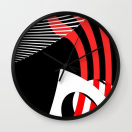 Black and white meets red Version 30 Wall Clock
