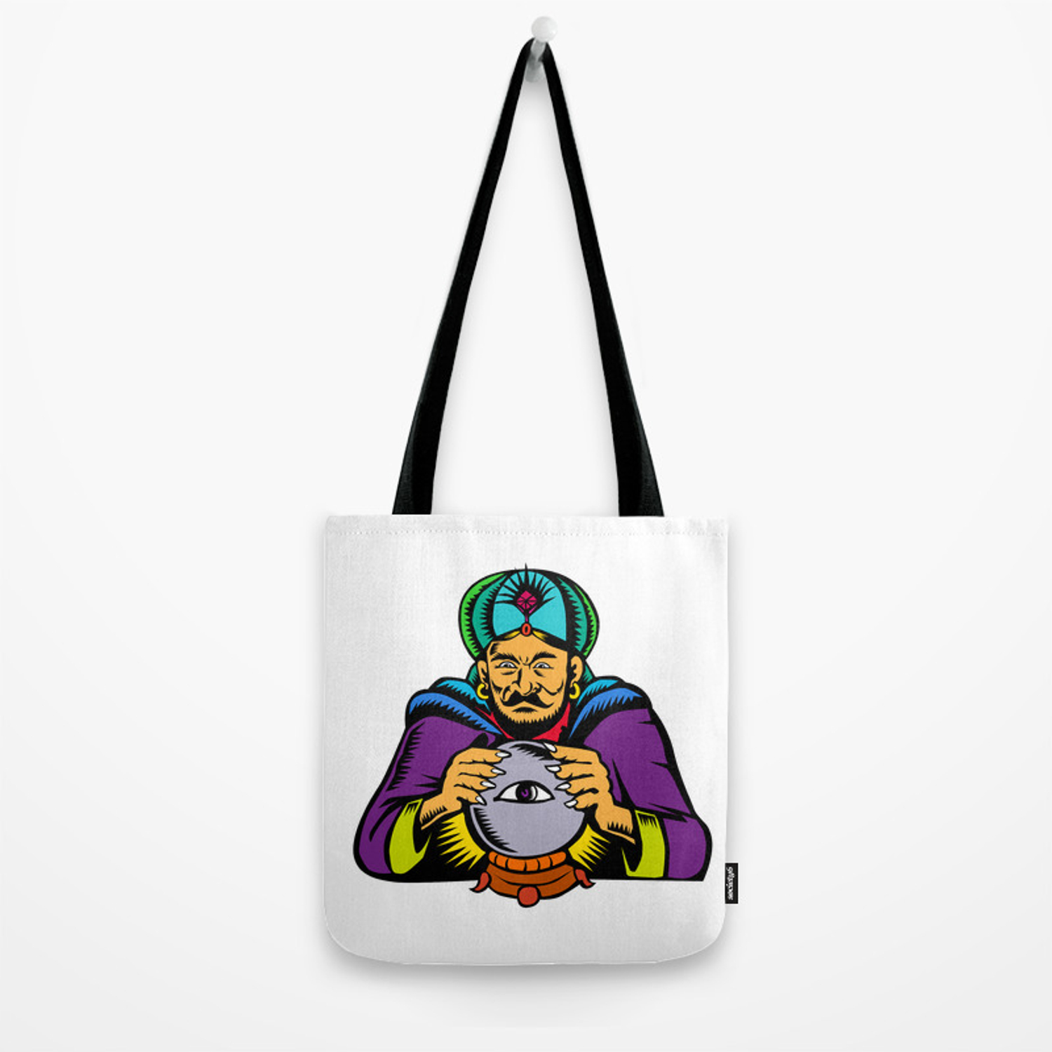 Fortune Teller With Crystal Ball Woodcut Tote Bag