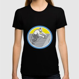 Roofer Roofing Worker Circle Retro T-shirt