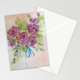 Lavender Roses with blue ribbon Stationery Cards