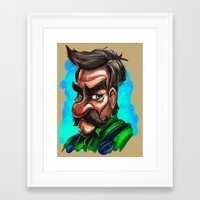 luigi Framed Art Prints featuring Luigi by Michael Clarida Illustration