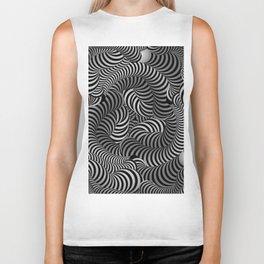 Black and White Illusion Pattern Biker Tank