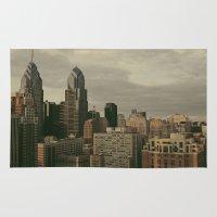 philadelphia Area & Throw Rugs featuring Philadelphia by Katie Leva