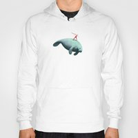 manatee Hoodies featuring Manatee Rider by Anthony James Rich