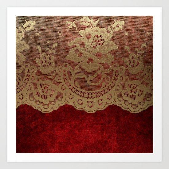Red Lace Velvet 01 Art Print