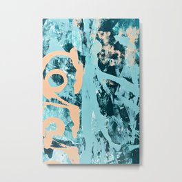 018.3: a bright contemporary abstract design in teal and peach by Alyssa Hamilton Art  Metal Print