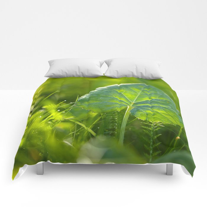 Large Green Leaf On A Sunny Background decor #society6 #homeart Comforters
