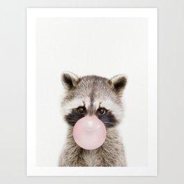 Bubble Gum Raccoon Art Print