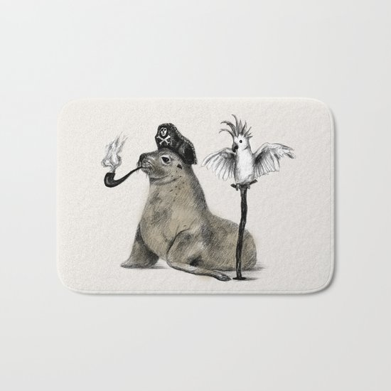 Pirate // seal parrot Bath Mat