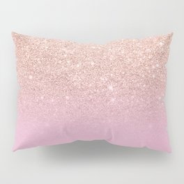Rose gold glitter ombre on sweet lilac Pillow Sham