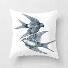Two Swallows Throw Pillow