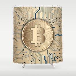 Bitcoin money gold Shower Curtain