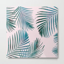 Green Palm Leaves on Light Pink Metal Print