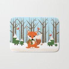 Cute winter fox with a red / green scarf, Bath Mat