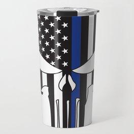 Punisher Skull American Flag Thin Blue Line Travel Mug