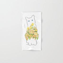 Tall White Cat Hand & Bath Towel
