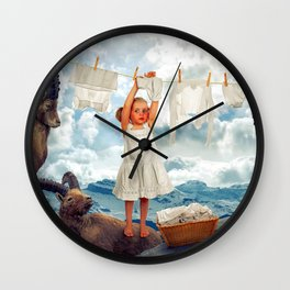 Little Girl Uses Capricorn As Clothesline Collage Ultra HD Wall Clock