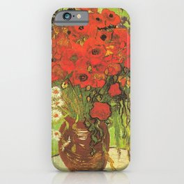 Still Life: Red Poppies and Daisies by Vincent van Gogh iPhone Case
