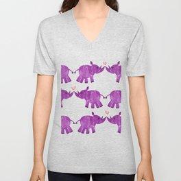 Purple African Black Rhino Love Unisex V-Neck