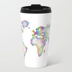 Rainbow World map Travel Mug