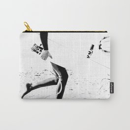 Surfers // Modern and Vintage Beach Aesthetic Photography of Cool Artsy Black and White Landscape Carry-All Pouch