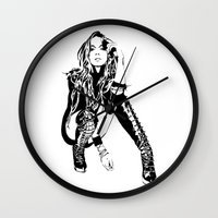 lindsay lohan Wall Clocks featuring lindsay lohan illustration by hello Malcolm