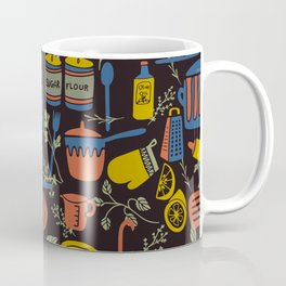 Kitchen Utensils on Black Coffee Mug
