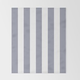 Manatee grey - solid color - white vertical lines pattern Throw Blanket