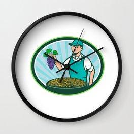 Farm Boy Holding Grapes Bowl Raisins Oval Retro Wall Clock