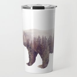 Double exposure of a wild brown bear and a pine forest isolated on white background Travel Mug