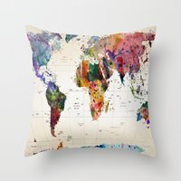 map of the world Throw Pillows featuring map by mark ashkenazi