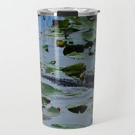 Florida Gator Amongst The Waterlilies Travel Mug