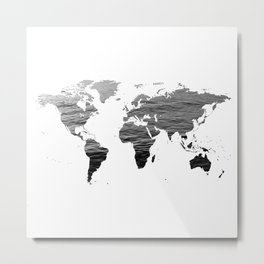 World Map - Ocean Texture - Black and White Metal Print