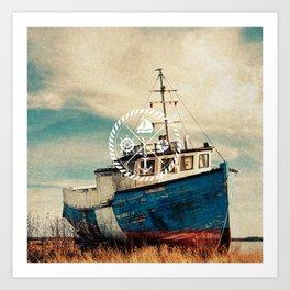 Blue Brown Vintage Nautical Anchor Sailing Boat Art Print