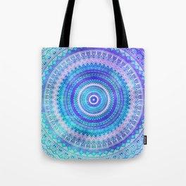 Blue Turquoise And Purple Watercolor Mandala Art Tote Bag
