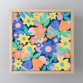 Spring Mod Flowers Pattern Framed Mini Art Print