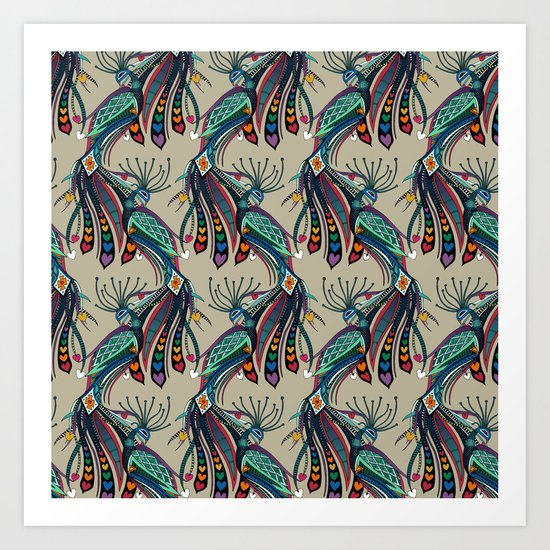 peacock rainbow love Art Print