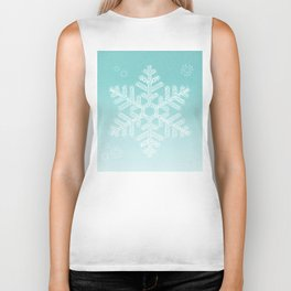 Typographic Snowfake Greetings - Ombre Teal Biker Tank