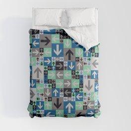 Arrow Pattern Blue Green Gray Comforters