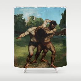 "Gustave Courbet ""The Wrestlers"" Shower Curtain"