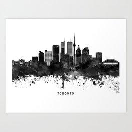 Toronto Black White Named Skyline Art Print